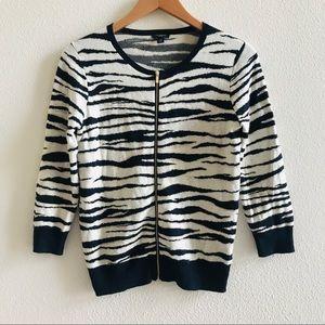 ANN TAYLOR zebra stripe sweater cardigan petite S